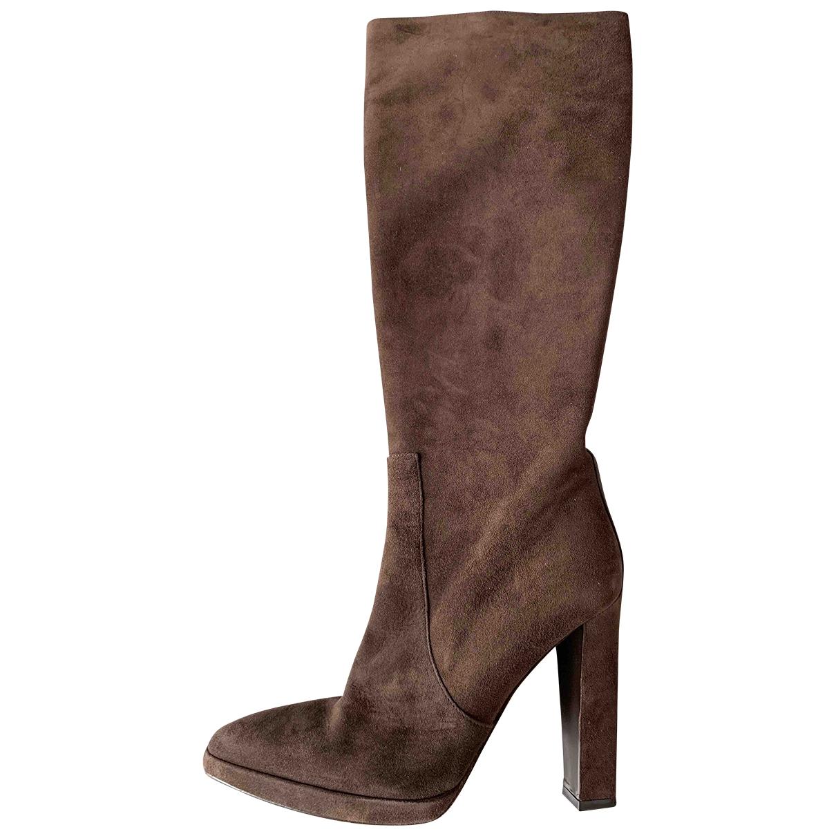 Hermes - Bottes   pour femme en suede - marron