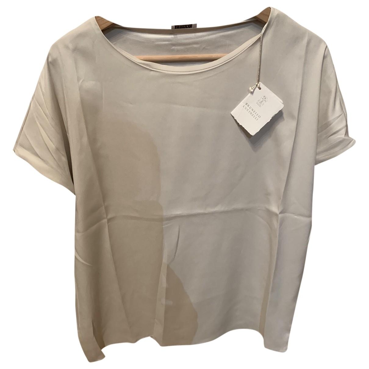 Brunello Cucinelli \N White Silk  top for Women 38 FR