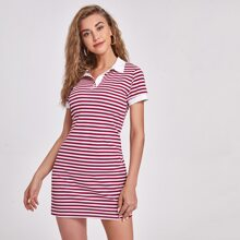 Striped Polo Neck Fitted Dress