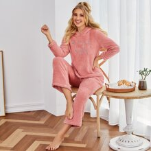 Geo & Letter Embroidery Flannel PJ Set