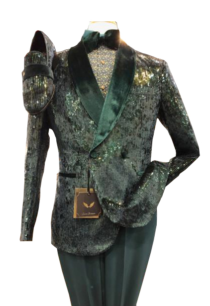 Olive Green Sequin ~ Fancy Fashion Double breasted Shawl Collar Tuxedo Blazer COMING MARCH 10th