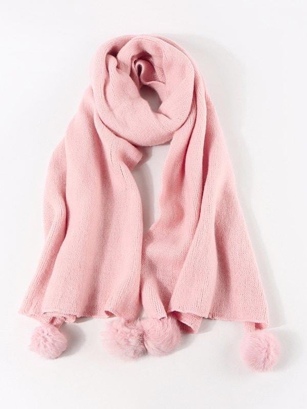 Faux Cashmere Knitted Pom Pom Scarf