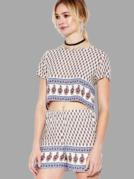 Yoins Red Tribal Print Crop Top and Shorts Co-ord
