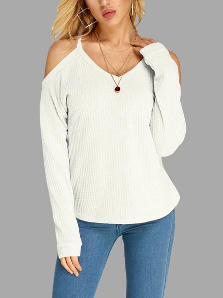 Yoins White Beige Thin Shoulder Cold Shoulder Long Sleeve T-shirt