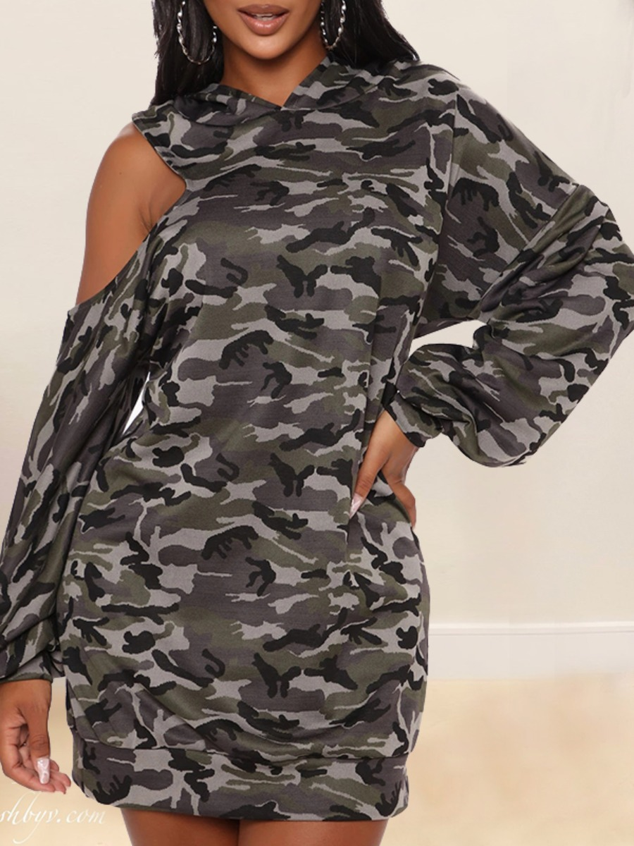 LW lovely Casual Hooded Collar Camo Print Hollow-out Army Green Mini Dress