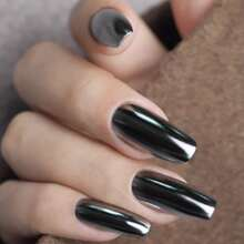 24pcs Solid Fake Nail With 1pc Double-side Tape