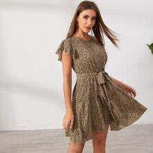 Dalmatian Print Belted A-line Dress