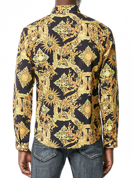Milanoo Men\'s Casual Shirt Stand Collar Casual Printed Black Paisley Men\'s Shirts