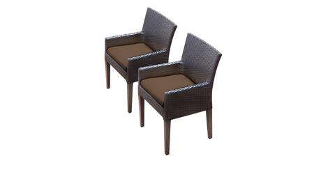 Belle Collection BELLE-TKC097b-DC-C-COCOA 2 Dining Chairs With Arms - Wheat and Cocoa