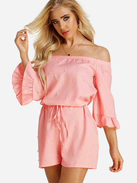Yoins Pink Polka Dot Lace-up Off The Shoulder Mini Playsuits