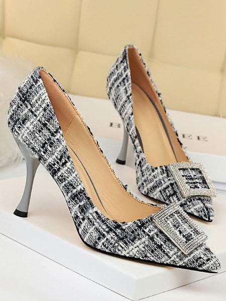 Milanoo Tacones altos Mujeres Punta puntiaguda Impreso Tacon de copa Detalles elegantes de metal Zapatos de albaricoque