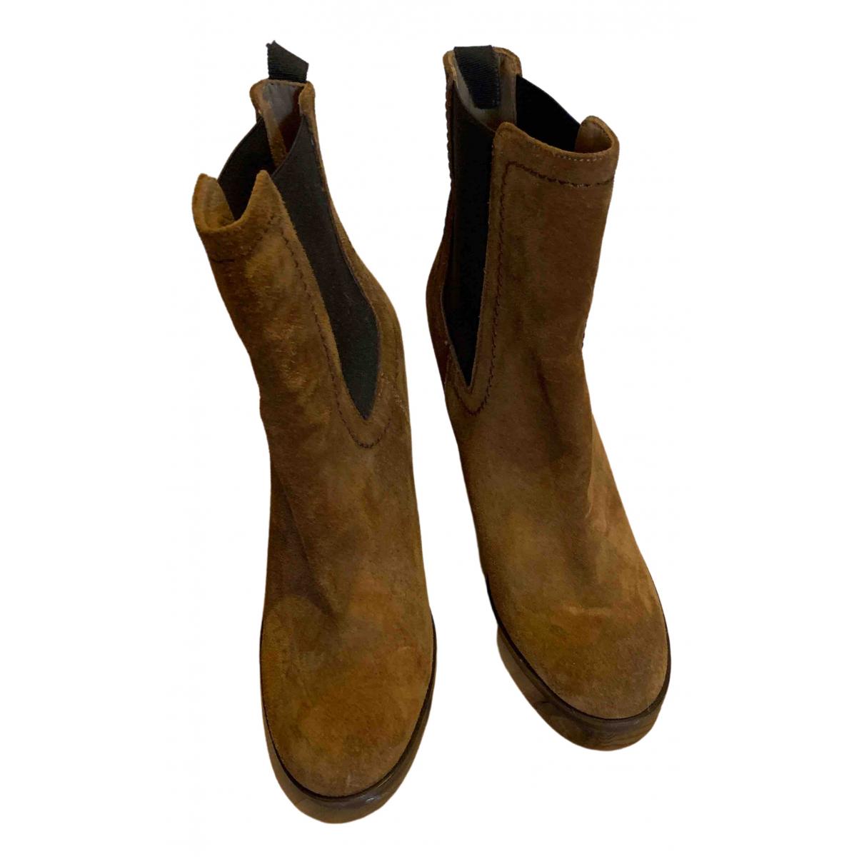Castaner - Boots   pour femme en suede - marron