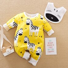 Baby Boy Cartoon Zebra Print Jumpsuit With Bib