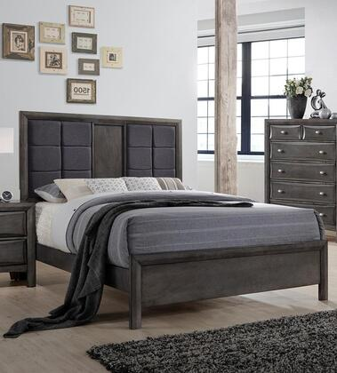 Crandall Collection CR490-Q Queen Size Panel Bed with Upholstered Headboard  Grid Design  Molding Details  Hardwood and Wood Veneer Construction in