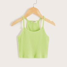 Girls Solid Rib-knit Racerback Cami Top