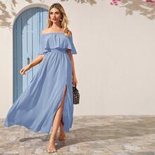 Blau  Schlitz bis zum Oberschenkel Einfarbig Elegant Kleider