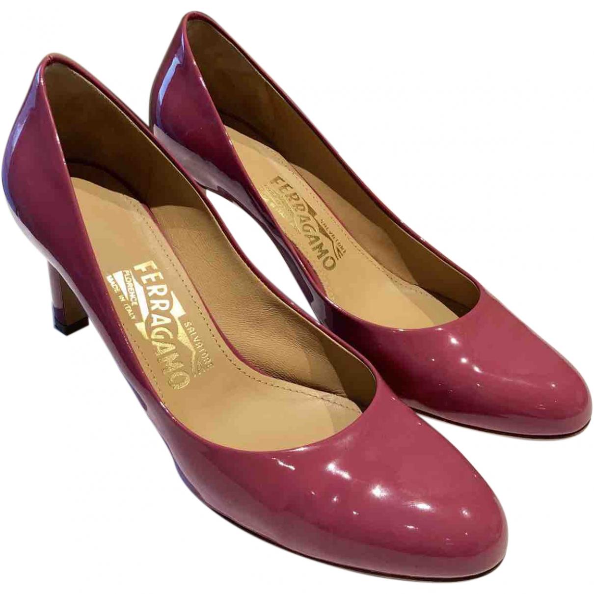 Salvatore Ferragamo \N Pink Patent leather Heels for Women 37.5 EU