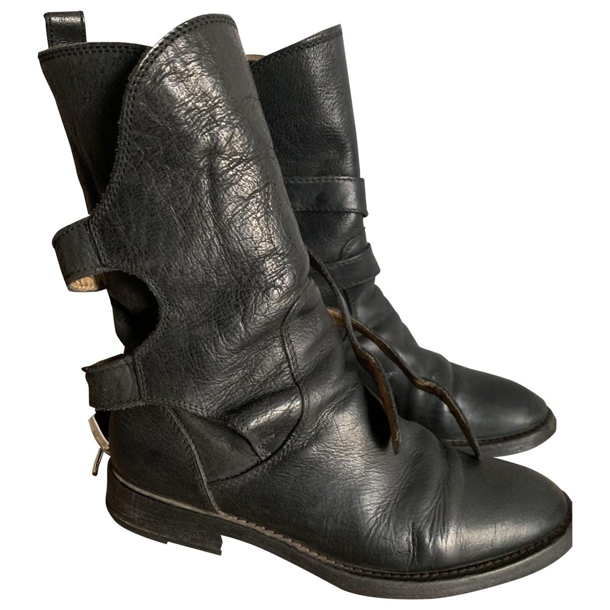 Dolce & Gabbana - Boots   pour femme en cuir - noir