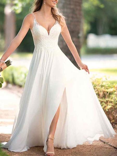 Milanoo Simple Wedding Dress Chiffon V Neck Sleeveless Criss Cross A Line Bridal Dresses