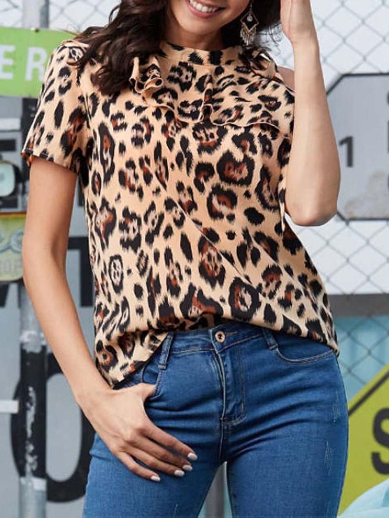 Ericdress Leopard Standard Short Sleeve Blouse