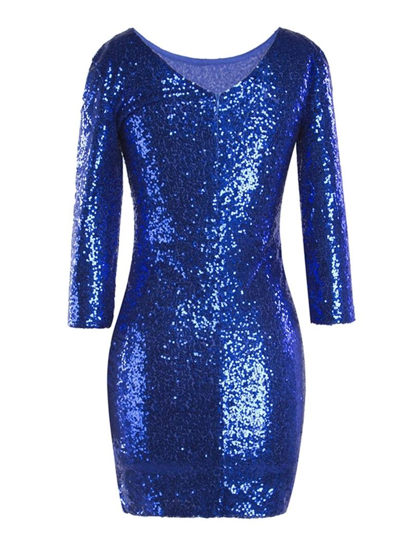 Ericdress Sequins Round Neck Long Sleeve Bodycon Dress
