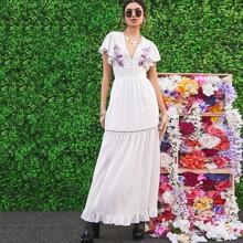 Ruffle Hem Flutter Sleeve Flower Embroidered Dress