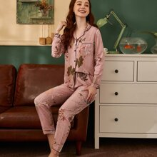 Plants Print Contrast Binding Pajama Set