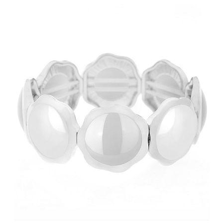 Liz Claiborne 17 Inch Cable Round Pendant Necklace, One Size , White