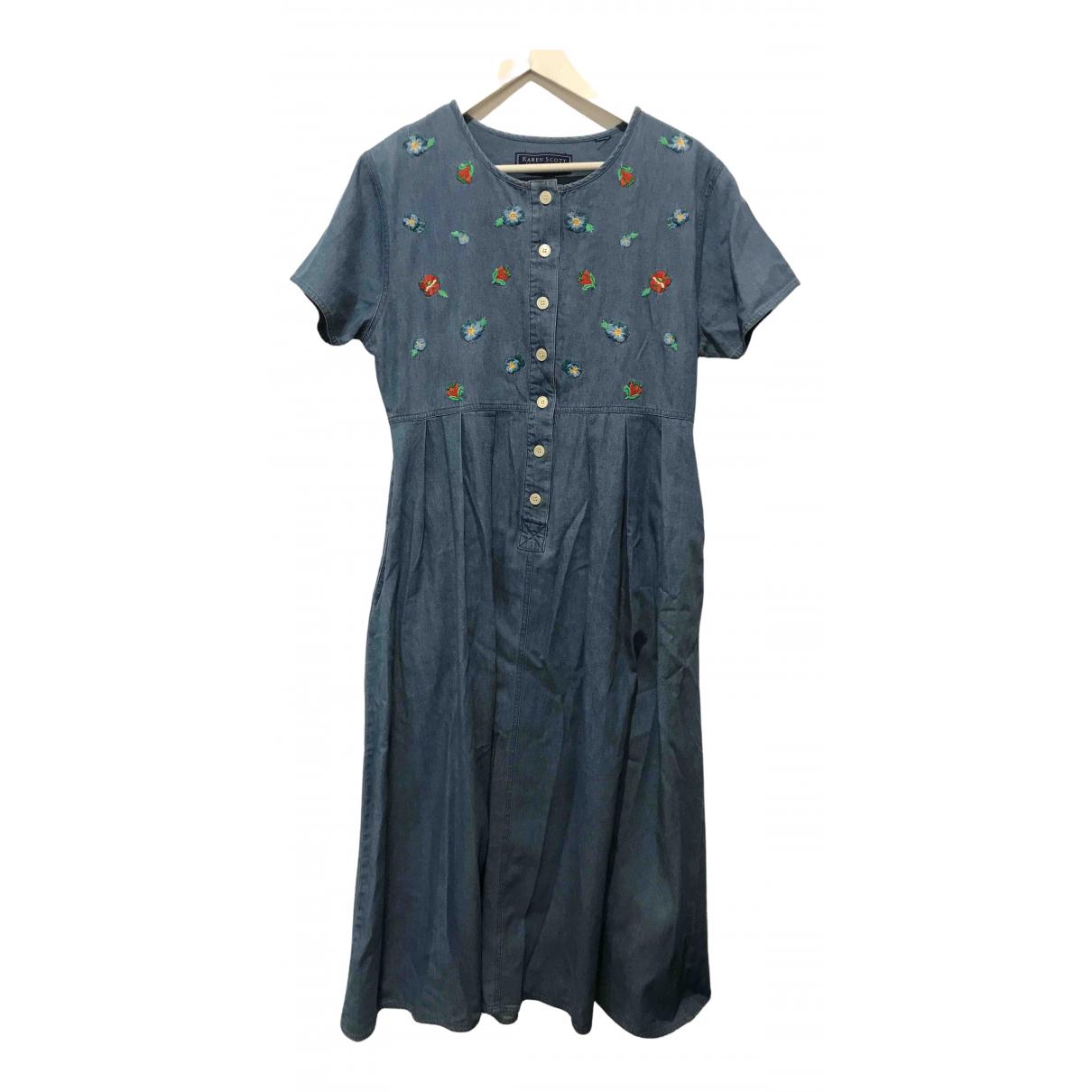 Non Signe / Unsigned Hippie Chic Kleid in  Blau Baumwolle