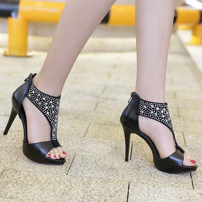Ericdress Rhinestone Peep Toe Stiletto Sandals