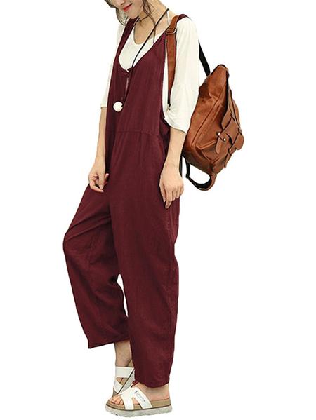 Yoins Celmia Button Keyhole Design Plain Sleeveless Jumpsuit
