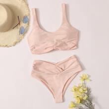 Bikini Badeanzug mit Knoten hinten und hoher Taille