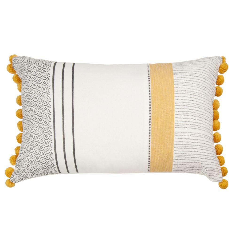 Kissenbezug aus bedruckter Baumwolle mit Quasten 30x50