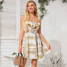Cami Kleid mit Leopard Muster und Schosschen