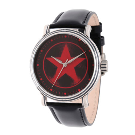 Marvel Avengers Mens Black Leather Strap Watch-Wma000207, One Size , No Color Family