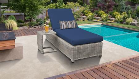Coast Collection COAST-W-1x-ST-NAVY Patio Set with 1 Chaise with Wheels  1 Side Table - Beige and Navy