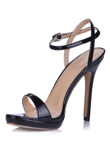 Milanoo High Heel Sandals Womens Black Open Toe Slingback Stiletto Heels Sandals