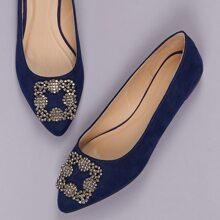 Crystal Buckle Pointy Toe Ballerina Flats