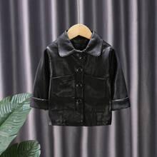 Einfarbige PU Leder Jacke mit Knopfen vorn