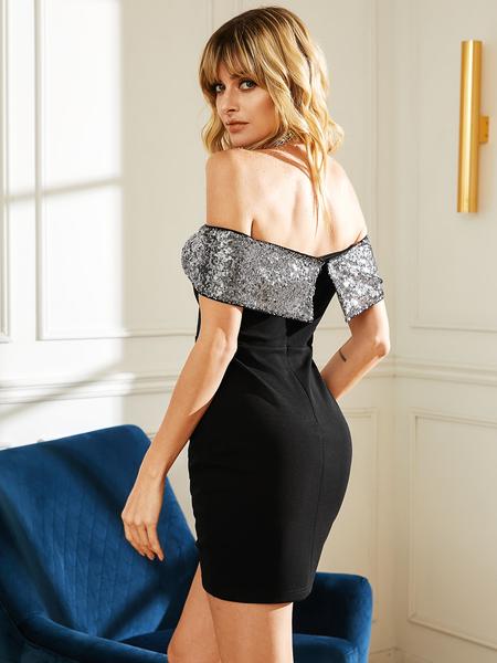 YOINS Black Sequins Off-the-shoulder Overlay Short Sleeves Dress