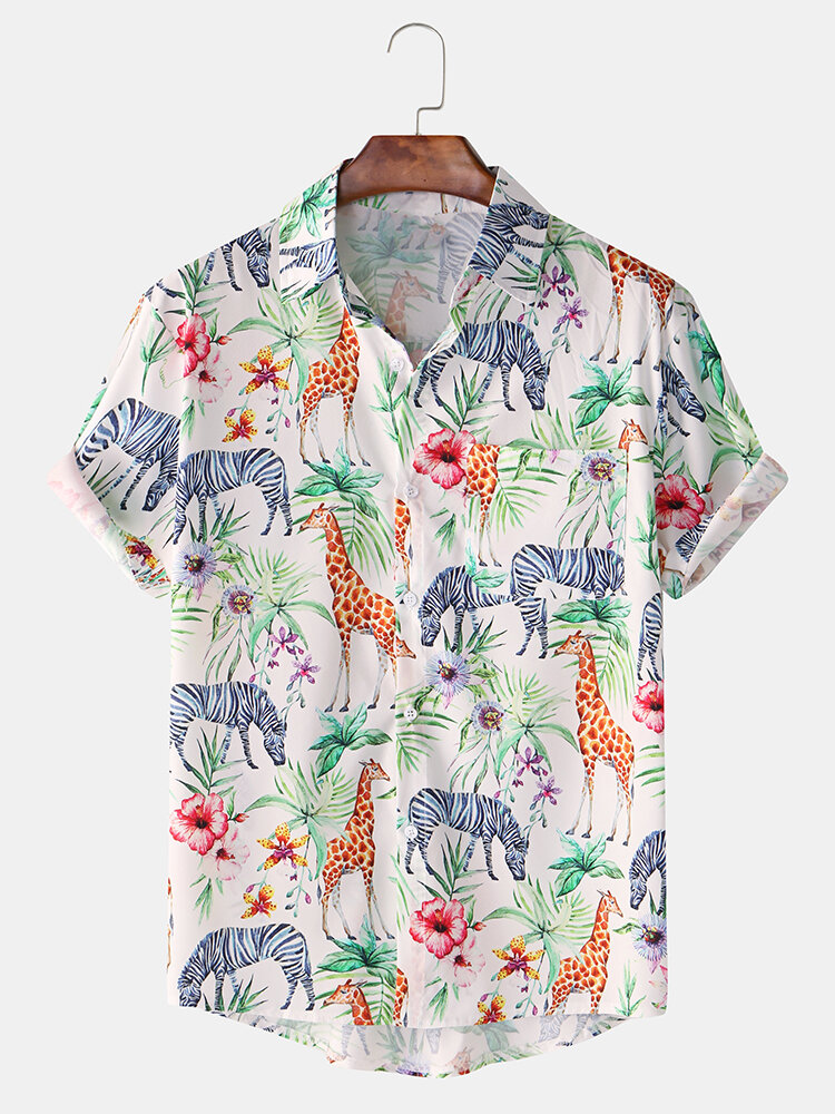 Men Cartoon Giraffe Zebra Print Casual Loose Short Sleeve Shirt