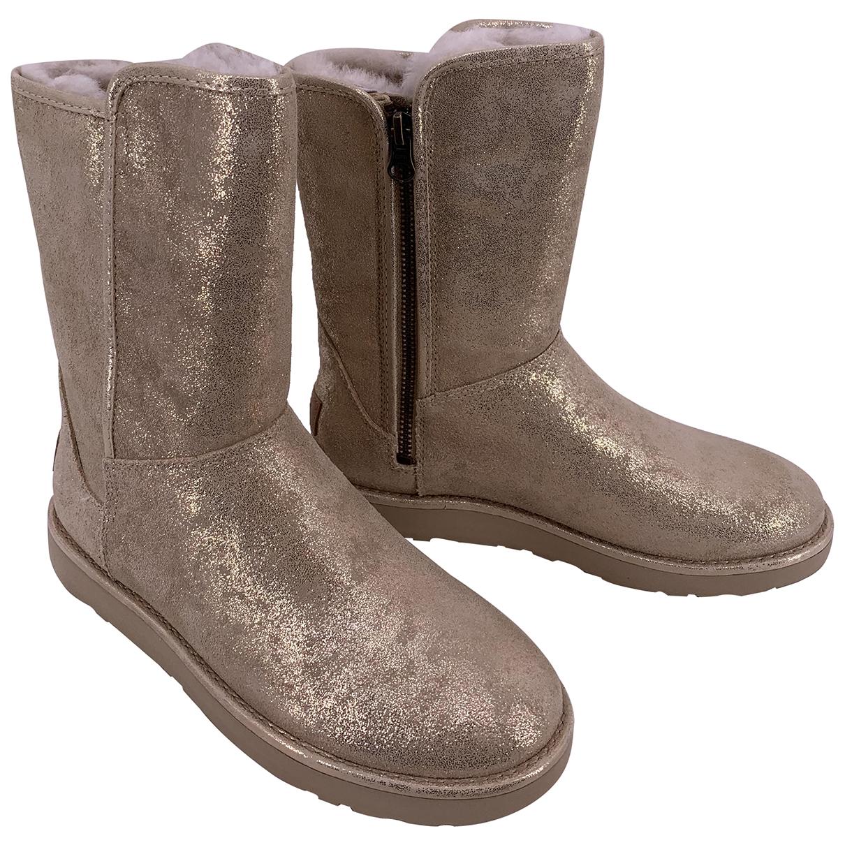 Ugg - Bottes   pour femme en cuir - dore