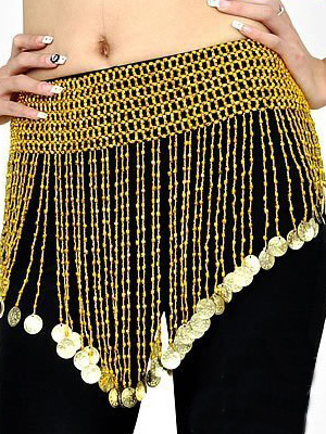 Milanoo Hip Scarf Belly Dance Costume Beautiful Gold Polystyrene Bollywood Dance Accessories