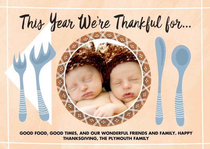 Thanksgiving Photo Cards 5x7 Cards, Premium Cardstock 120lb with Scalloped Corners, Card & Stationery -Thanksgiving Dinner