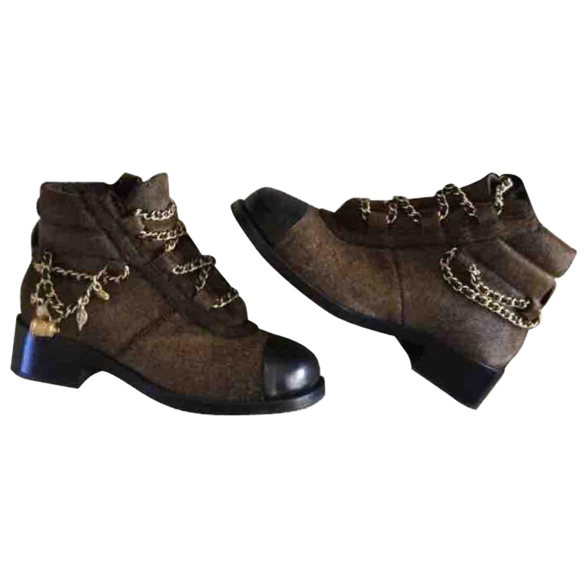 Chanel - Boots   pour femme en veau facon poulain - marron