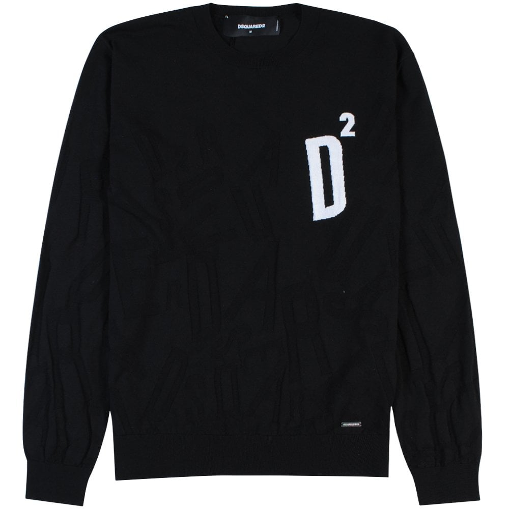 Dsquared2 Knitted D2 Logo Sweater Colour: BLACK, Size: EXTRA EXTRA LARGE