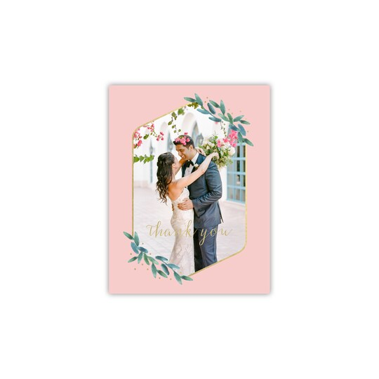 20 Pack of Style Me Pretty Personalized Polished Flora Thank You in Blush | 4.25