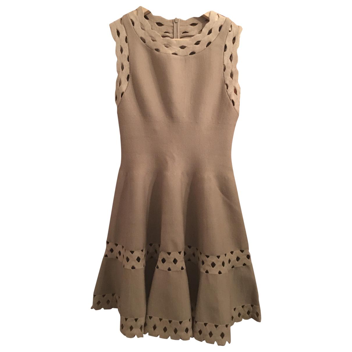 Alaia \N Kleid in  Beige Wolle