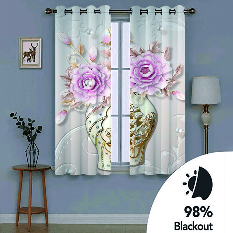 3D Vintage Relief Floral Decorative Blackout Window Curtains for Living Room No Pilling No Fading No off-lining Drapes