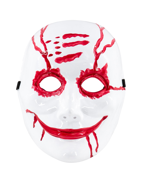 Kostuemzubehor Maske blutiger Clown weiss/rot